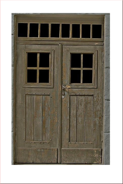 Old Wooden Double Door Reality In Scale