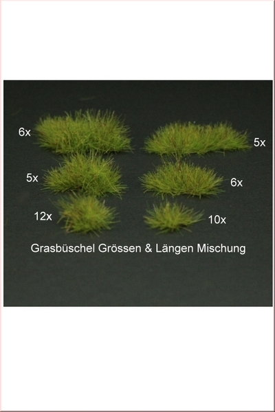 Grass Tufts, mix of different sizes & shapes - Mid Green