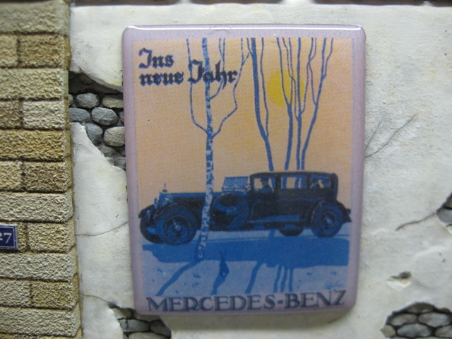 "Real Enamel Advertising Sign - ""Mercedes Benz"""