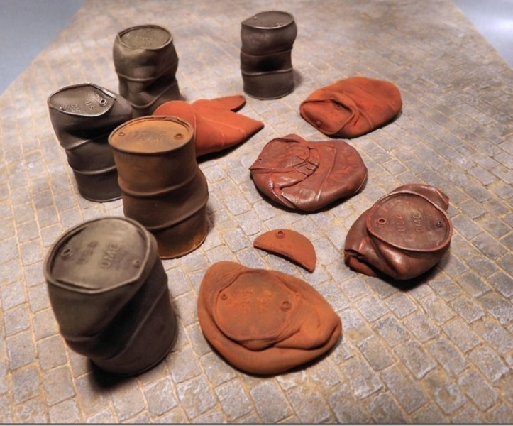 Crushed & Dented US Fuel Drums WWII - 11 resin pcs.