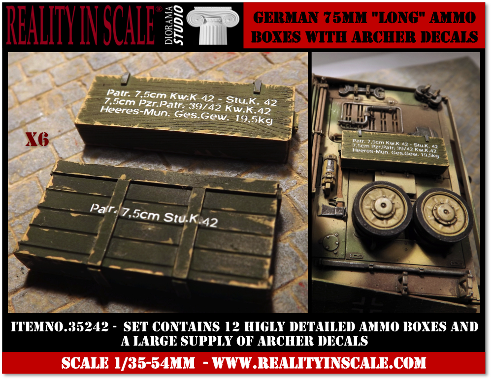 German 75mm Long Ammo Boxes with Archer Decals